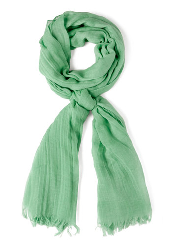 Milan the Go Scarf in Sage - Green, Solid, Fringed, Cotton, Variation, Winter