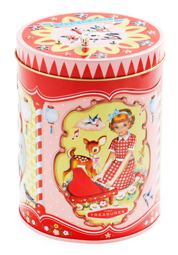 J'adore-able Music Canister - Red, Novelty Print, Vintage Inspired, Cats, 50s