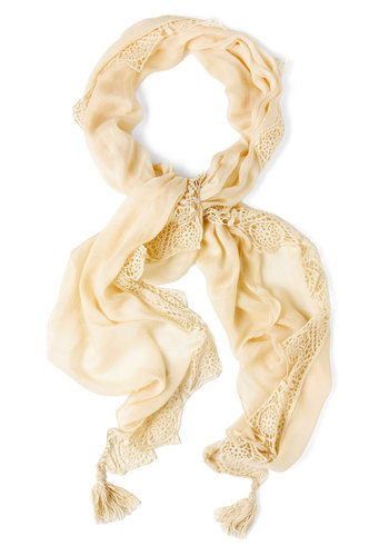 Irish Cream Scarf - Tan, Solid, Crochet, Trim, Vintage Inspired, Cotton