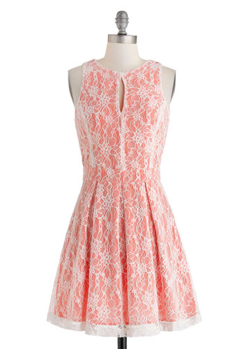 Window Trappings Dress - Mid-length, White, Cutout, Lace, Pleats, Daytime Party, A-line, Sleeveless, Crew, Pink, Party
