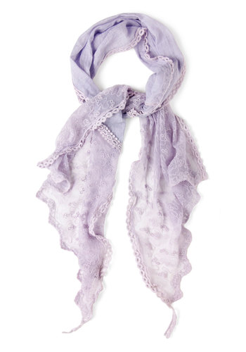 Wrapped in Lavender Scarf - Purple, Solid, Lace, Trim, Fairytale, Pastel, Cotton, Vintage Inspired