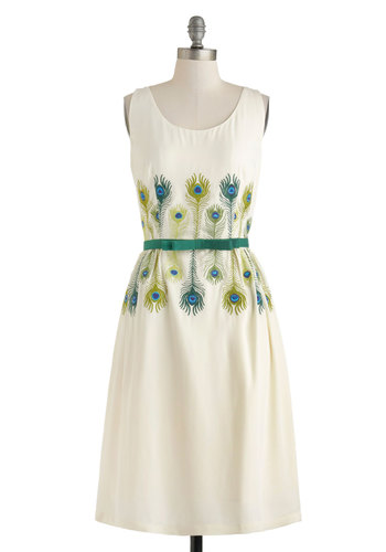 Room for Plumage Dress - Long, Cream, Green, Blue, Print, Bows, Daytime Party, A-line, Tank top (2 thick straps), Scoop, Luxe