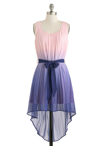 Luxe Larkspur Dress - Short, Purple, Pink, Ombre, Pleats, Belted, Casual, High-Low Hem, Tank top (2 thick straps), Scoop