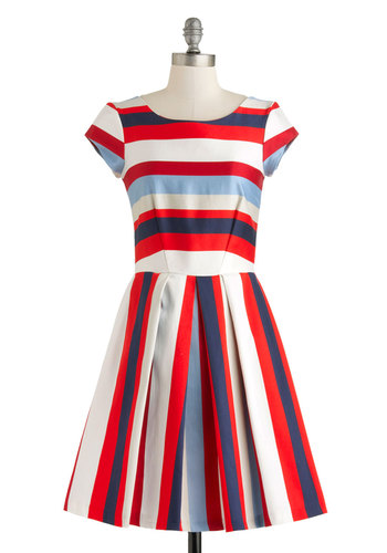 Nautical in the World Dress - Red, Blue, White, Stripes, Cutout, Exposed zipper, Nautical, A-line, Cap Sleeves, Summer, Mid-length, Pockets, Daytime Party, Americana