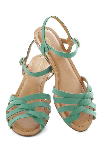 Sealed with a Twist Sandal in Teal by Bass - Leather, Low, Green, Braided, Summer, Solid, Casual, Vintage Inspired, Variation