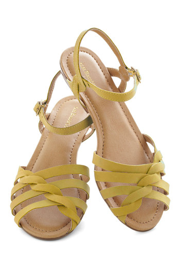 Sealed with a Twist Sandal in Honey by Bass - Low, Leather, Yellow, Braided, Summer, Solid, Casual, Daytime Party, Vintage Inspired, Variation