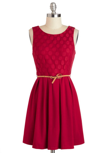Refine Mint Dress in Peppermint Red - Red, Solid, Pleats, Belted, Casual, A-line, Tank top (2 thick straps), Scoop, Cotton, Mid-length, Variation, Valentine's