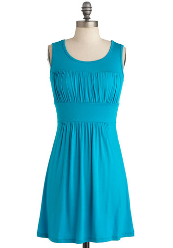 Simplicity Party Dress in Turquoise - Short, Casual, Blue, Solid, Shift, Sleeveless, Mini, Jersey, Minimal, Variation, Summer