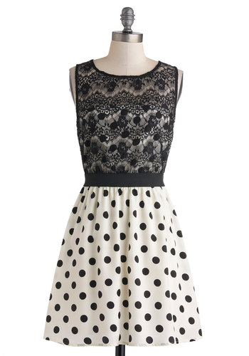 Dot You Look Lovely Dress - Black, White, Polka Dots, Backless, Lace, Party, A-line, Sleeveless, Prom, Short