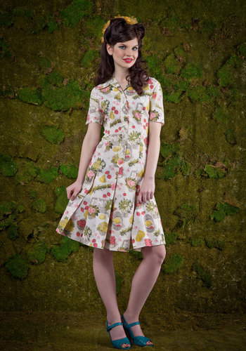 Vintage Brunch of Characters Dress