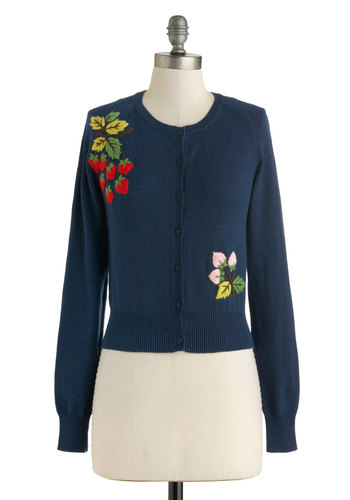 Merry Berry Cardigan - International Designer, Short, Blue, Red, Yellow, Pink, Buttons, Embroidery, Long Sleeve, Winter, Folk Art