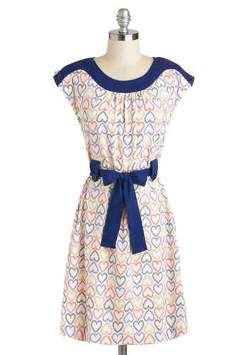 Down to a Fine Heart Dress by People Tree - International Designer, Cotton, Mid-length, Multi, Red, Blue, Tan / Cream, Novelty Print, Pockets, Belted, Casual, Cap Sleeves, Eco-Friendly