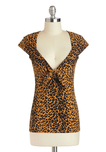 Purr-fectly Fashioned Top - Brown, Black, Animal Print, Casual, Pinup, Cap Sleeves, Cotton, Mid-length, Girls Night Out
