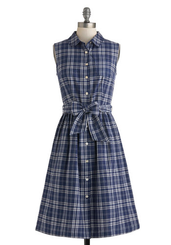 Plaid a Good Time Dress by People Tree - International Designer, Cotton, Long, Blue, White, Plaid, Buttons, Pockets, Belted, Casual, Shirt Dress, Button Down, Sleeveless, Collared, Rustic, Eco-Friendly