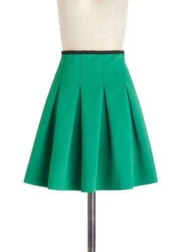 Working Order Skirt in Green - Green, Solid, Pleats, Work, Scholastic/Collegiate, Short, Variation, Basic, Green, Ballerina / Tutu