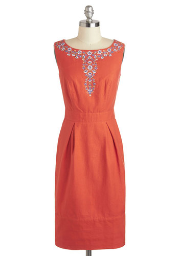 Floral in All Dress by People Tree - International Designer, Cotton, Long, Orange, Embroidery, Work, Sheath / Shift, Sleeveless, Daytime Party, Vintage Inspired, 50s, Eco-Friendly