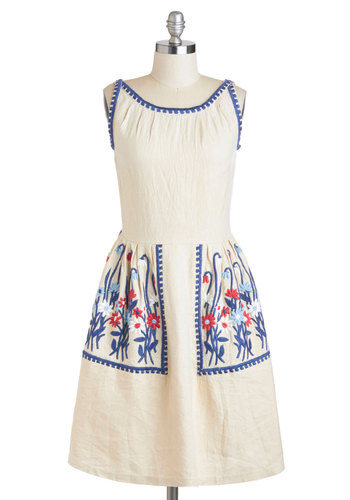 First Flowers Dress - Cream, Blue, Embroidery, Casual, A-line, Sleeveless, Spring, Long, Red, Pockets, Vintage Inspired, Boat