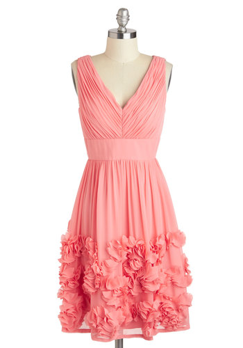 Prancing in Posies Dress - Solid, Vintage Inspired, A-line, Sleeveless, Spring, Mid-length, Coral, Flower, V Neck, Wedding, Bridesmaid, Luxe, Pastel, Prom