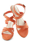 Carrot Crop Sandal - Orange, Solid, Scallops, Strappy, Low, Faux Leather, Casual, Daytime Party, Beach/Resort, Summer