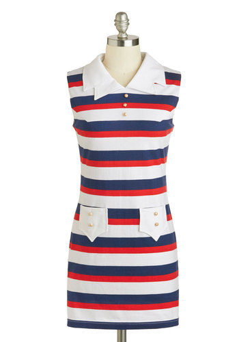 Lighthouse Keeper Dress - Vintage Inspired, 60s, Mod, Short, Red, Blue, White, Stripes, Exposed zipper, Pearls, Casual, Sheath / Shift, Sleeveless, Summer, Nautical