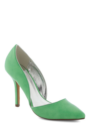 Lime and Again Heel - Green, Solid, High, Wedding, Party, Cocktail, Vintage Inspired, Faux Leather