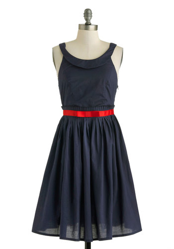 Geneva La Vida Dress - Black, Solid, Bows, Cocktail, A-line, Racerback, Spring, Cotton, Mid-length, Blue, Red, Scoop, Daytime Party, Nautical