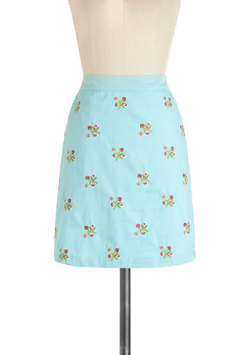 Saved by the Bellflower Skirt by Knitted Dove - Blue, Red, Green, Floral, A-line, Cotton, Short, Pockets, Casual, Spring