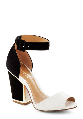 Deco Devotee Heel - Black, Solid, Chunky heel, Cream, Gold, Trim, Peep Toe, High, Leather, Party, Girls Night Out