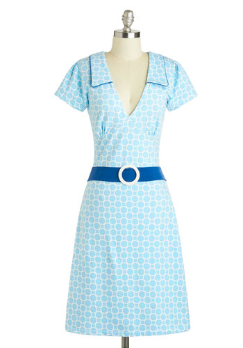 Cute Quick Change Dress in Sky - Blue, White, Print, 60s, Eco-Friendly, Collared, Nautical, Casual, Mod, A-line, V Neck, Long