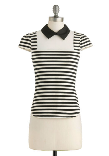 Cue the New Top - Multi, Black, White, Stripes, Casual, Cap Sleeves, Collared, Mid-length, Work, Menswear Inspired