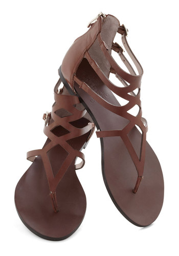 Striding Solo Sandal - Brown, Solid, Buckles, Cutout, Flat, Leather, Casual, Beach/Resort, Summer, Strappy