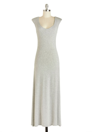 Bistro with the Flow Dress - Long, Grey, Solid, Casual, Minimal, Maxi, Cap Sleeves, Summer, Basic