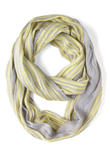 Rays on a Cloudy Day Scarf - Grey, Yellow, Stripes