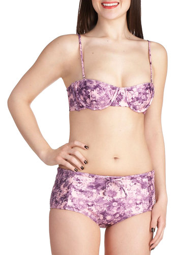 Feels So Real Two Piece by Tallow - Purple, Summer, Floral, Bows, Beach/Resort, Pastel, High Waist, Spaghetti Straps, International Designer