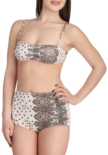 Secret Garden Swim Two Piece by Tallow - Multi, Paisley, Summer, White, Floral, Ruching, Beach/Resort, High Waist, Strapless, Spaghetti Straps, International Designer