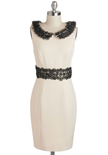 Orchestral Occasion Dress by Darling - Cream, Black, Lace, Peter Pan Collar, Cocktail, Vintage Inspired, Sheath / Shift, Sleeveless, Collared, Mid-length, Work