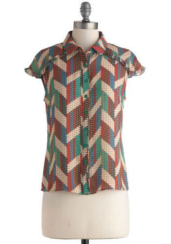 Craft My Drift Top - Multi, Red, Green, Blue, Tan / Cream, Buttons, Ruffles, Short Sleeves, Work, Casual, Vintage Inspired, 60s, Sheer, Mid-length