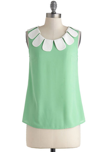 This is the Daisy Top - Green, White, Daytime Party, Sleeveless, Mid-length, Vintage Inspired, 50s, 60s, Pinup, Exclusives, Green, Sleeveless