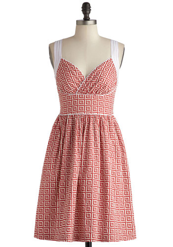 Paradise Tile Dress - Cotton, Mid-length, Red, White, Print, Casual, A-line, Vintage Inspired, 50s, Pinup