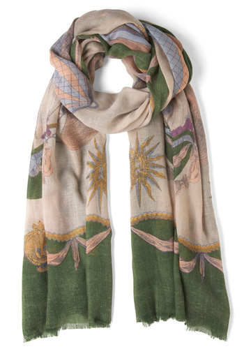 See You Later, Navigator Scarf - Green, Multi, Print, Casual, Travel, Top Rated