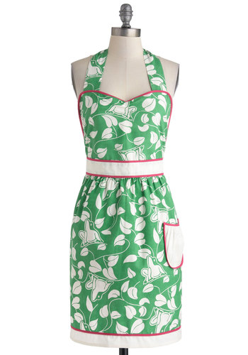 Croak Madame Apron - Exclusives, Green, White, Vintage Inspired, Cotton