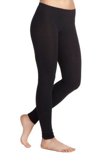 Ace of Basics Leggings in Black - Mid-length, Casual, Urban, Black, Solid, Cotton, Variation, Travel, Winter