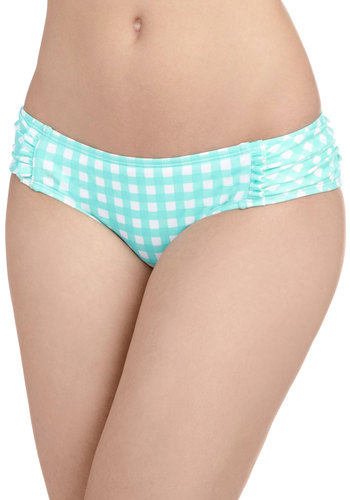 Gingham into Action Swimsuit Bottom - Blue, White, Checkered / Gingham, Beach/Resort, Summer