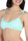 Gingham into Action Swimsuit Top - Blue, White, Checkered / Gingham, Bows, Buttons, Flower, Ruffles, Beach/Resort, Spaghetti Straps, Summer