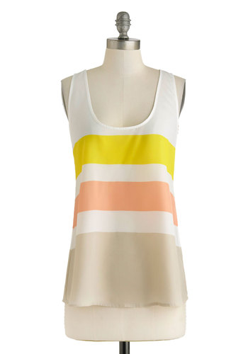 Smoothie Shop Top by BB Dakota - Mid-length, Orange, Yellow, Tan / Cream, Stripes, Casual, Racerback, Beach/Resort, Scoop, Sheer, Summer, Travel, White