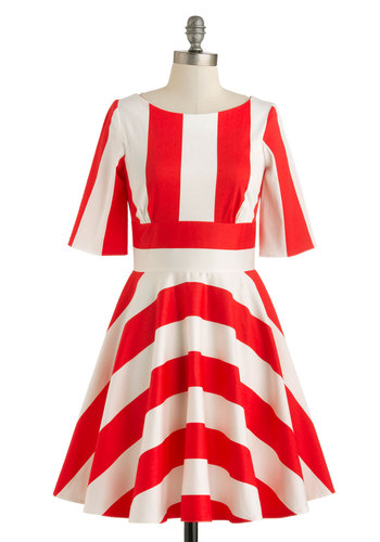 Anything Rows Dress - Nautical, Cotton, Mid-length, White, Stripes, Casual, Fit & Flare, Short Sleeves, Red, Exposed zipper, Pockets