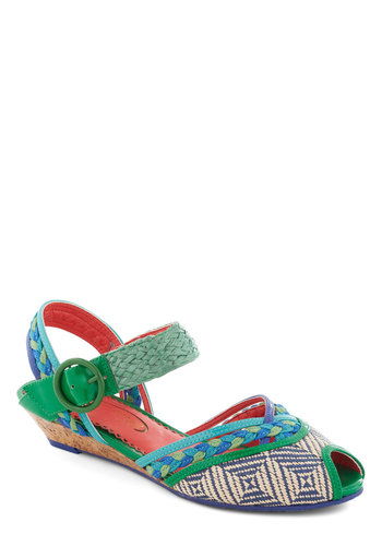 Pool Kids Club Wedge by Poetic License - Low, Green, Multi, Print, Braided, Boho, Wedge, Spring, Summer