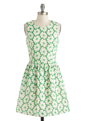 Croquet by Me Dress - Green, White, Floral, Eyelet, A-line, Sleeveless, Spring, Daytime Party, Scoop, Cotton, Mid-length