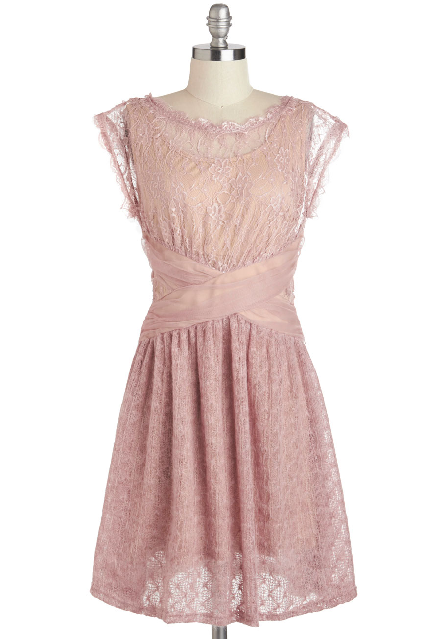 Ryu a laud of love dress in dusty rose mod retro vintage for Antique rose wedding dress