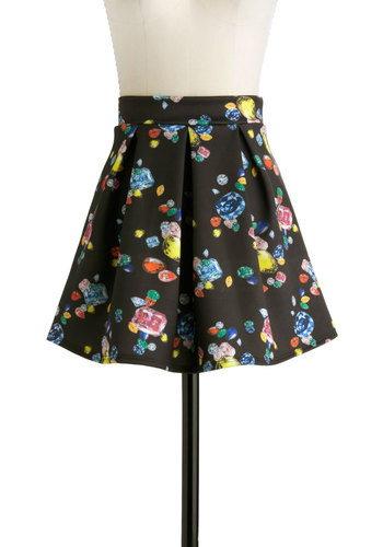 The Best of Gems Skirt - Short, Black, Red, Orange, Green, Blue, Pink, A-line